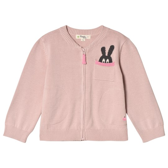 The Bonnie Mob Zip Cardigan with Intarsia Bunny Pocket Detail Pink Pale Pink