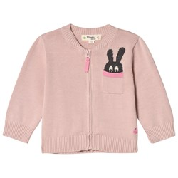 The Bonnie Mob ZIP CARDIGAN WITH INTARSIA BUNNY POCKET DETAIL PALE PINK