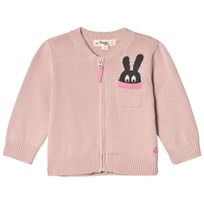 The Bonnie Mob ZIP CARDIGAN WITH INTARSIA BUNNY POCKET DETAIL PALE PINK Pale Pink