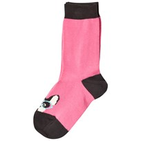 The Bonnie Mob Dog Face Short Socks Pink Pink