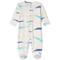 The Bonnie Mob Footed Baby Body Blue Scribble Waves Print