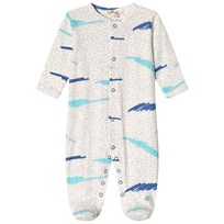 The Bonnie Mob Footed Baby Body Blue Scribble Waves Print BLUE SCRIBBLE WAVES PRINT