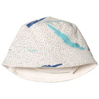 The Bonnie Mob Printed Reversible Sunhat Blue Scribble Waves Print BLUE SCRIBBLE WAVES PRINT