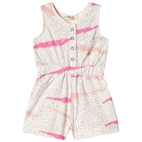 The Bonnie Mob Printed Shorty Jumpsuit Kids Pink Scribble Waves Print PINK SCRIBBLE WAVES PRINT