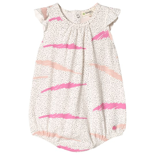 The Bonnie Mob Ärmlös Romper Rosa med Scribble Waves Tryck PINK SCRIBBLE WAVES PRINT