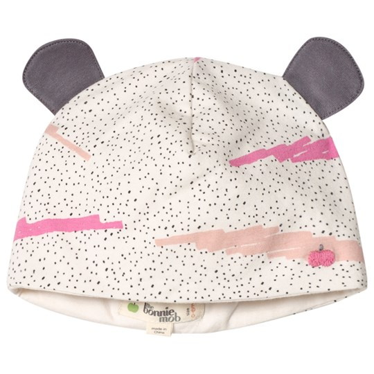 The Bonnie Mob Printed Hat With Ears with Pink Scribble Waves Print PINK SCRIBBLE WAVES PRINT