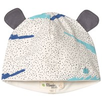 The Bonnie Mob Printed Hat With Ears with Blue Scribble Waves Print BLUE SCRIBBLE WAVES PRINT