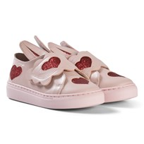 Minna Parikka Powder Pink Glitter Heart Aimee Mini Velcro Trainers Powder