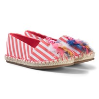 Billieblush Pink Stripe Feather Detail Espadrilles Z40