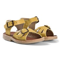 Young Soles Yellow Leather Pearl Sandals Yellow