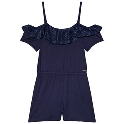 Guess Navy Lace Frill Jersey Playsuit