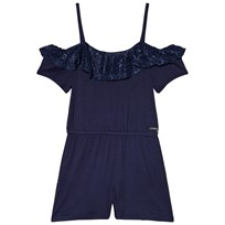 Guess Navy Lace Frill Jersey Playsuit FABL