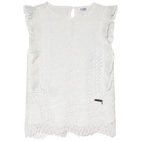 Guess White Lace Frill Top TWHT