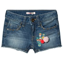Billieblush Mid Wash Cactus Embroidered Pom Pom Shorts Z17