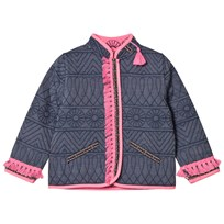 Billieblush Indigo Embroidered Reversible into Pink Tassled Jacket 82H