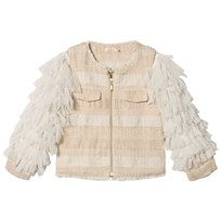 Billieblush Ivory Tweed Jacket with Tulle Fringe Sleeves Z40