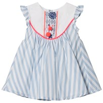 Billieblush Blue Stripe Dress with Bib and Tassel Detail N48