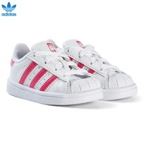 adidas Originals White and Shiny Pink Infants Superstar Trainers FTWR WHITE/REAL PINK S18/FTWR WHITE