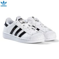 adidas Originals White and Shiny Black Kids Superstar Trainers FTWR WHITE/CORE BLACK/FTWR WHITE
