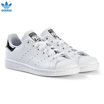 adidas Originals White and Black Shiny Junior Stan Smith Trainers FTWR WHITE/FTWR WHITE/CORE BLACK