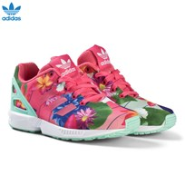 adidas Originals Pink Flower ZX Flux Kids Trainers REAL PINK S18/REAL PINK S18/FTWR WHITE