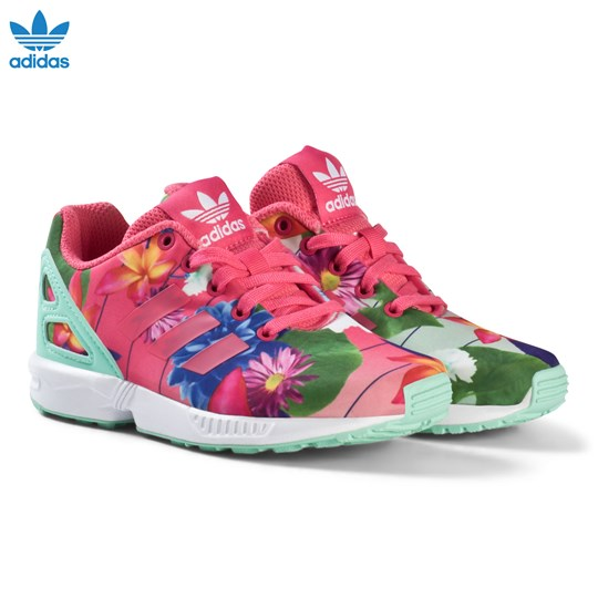 low priced a0841 9aeff adidas Originals - Pink Flower ZX Flux Kids Trainers ...
