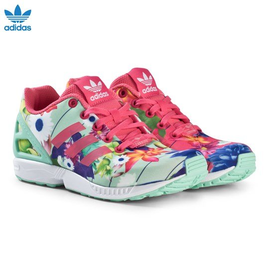 f9fac77ee3ee3 ireland adidas originals pink flower zx flux junior trainers real pink s18  real pink s18 df562