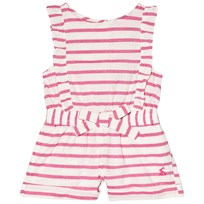 Tom Joule Pink Stripe Jersey Frill Playsuit BRIGHT PINK STRIPE