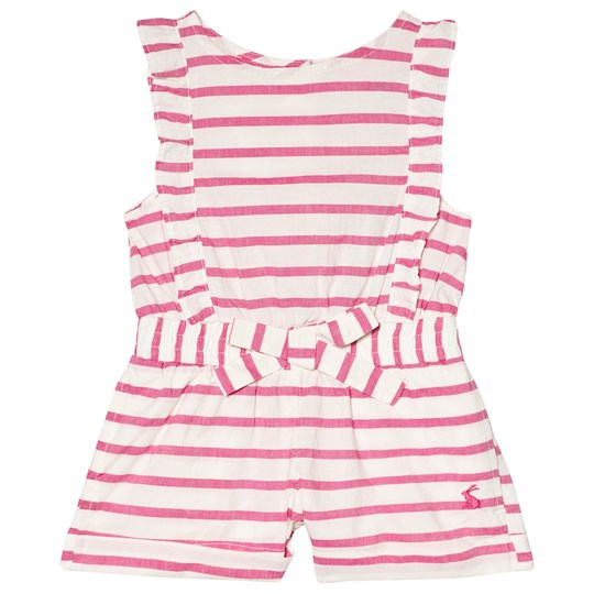 Tom Joule Elle Frilled Romper Pink and White BRIGHT PINK STRIPE
