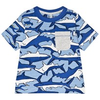 Tom Joule Blue Shark and Stripe Printed Jersey Tee Shark Dive Stripe