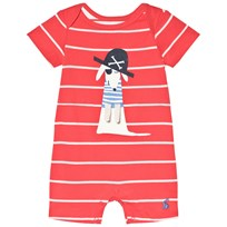 Tom Joule Red Stripe Dog Applique Romper MELON RED STRIPE