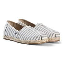 Toms Blue Stripe Woven Espadrilles with Rope Sole SKY WOVEN STRIPE