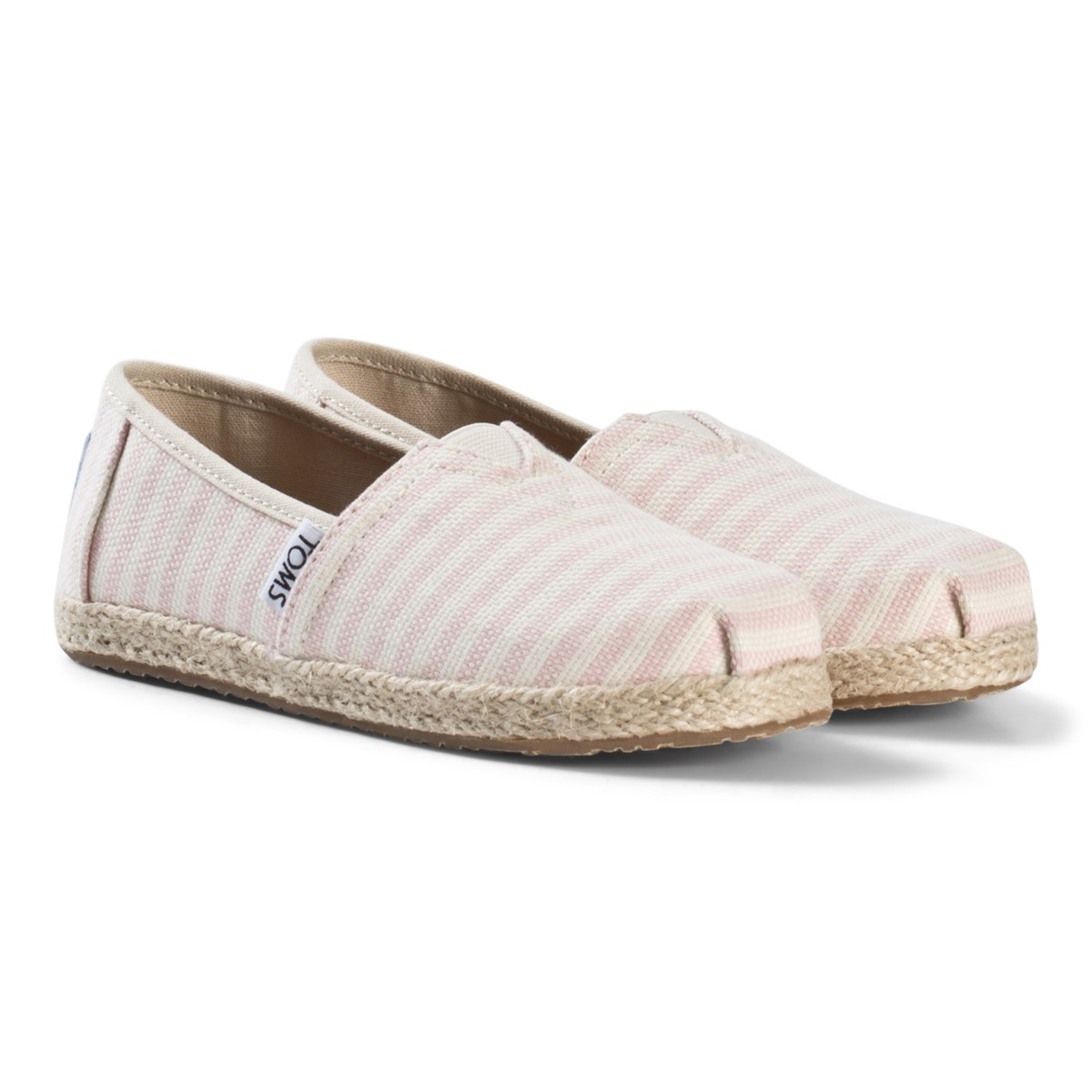 Toms Blossom Woven Stripe Youth Classics with Rope Sole