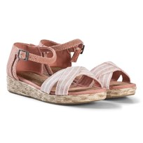 Toms Pink Chambray Stripe Strappy Sandals BLOOM CHAMBRAY STRIPE