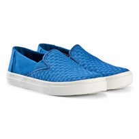 Toms Imperial Blue Basketweave Luca Youth TOMS Slip-Ons IMPERIAL BASKET WEAVE
