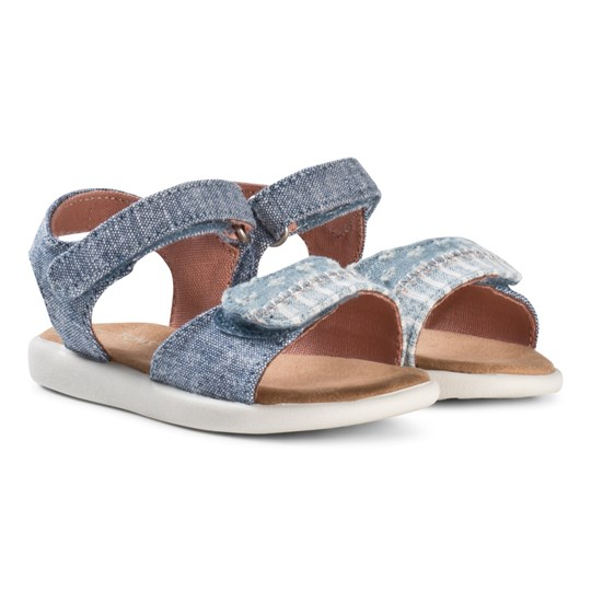 Toms Blue Slub Chambray/Torn Denim Tiny TOMS Strappy Sandals BLUE SLUB CHAMBRAY TORN