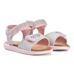 Toms Pink Multi Twill Glimmer Tiny TOMS Strappy Sandals