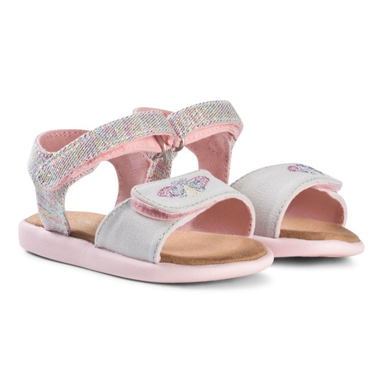 Toms Pink Multi Twill Glimmer Tiny TOMS Strappy Sandals PINK MULTI TWILL GLIMMER