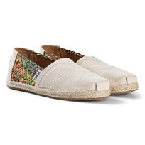 Toms Multi Crochet Youth Classics with Hemp Rope Sole NATURAL DAISY METALLIC