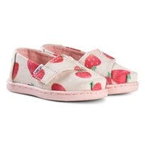 Toms Beige Strawberry Print Espadrilles with Pink Sole BIRCH STRAWBERRIES AND CREAM