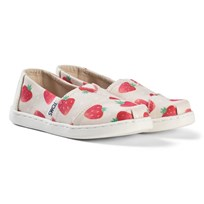 Toms Beige Strawberry Print Espadrilles BIRCH STRAWBERRIES AND CREAM