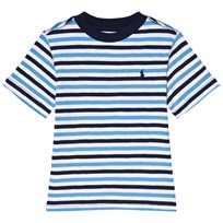 Ralph Lauren White and Navy Multi Stripe Short Sleeve Tee White Multi