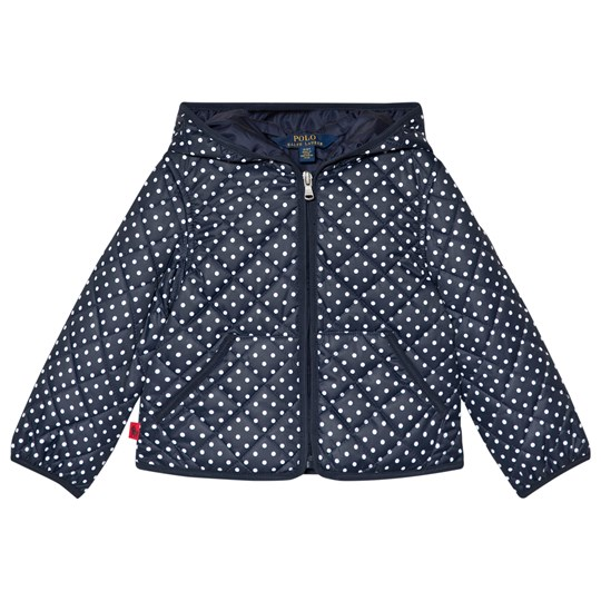 Ralph Lauren Navy and White Polka Dots Hooded Jacket Navy & White