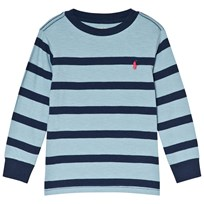 Ralph Lauren Blue and Navy Stripe Long Sleeve Tee Navy
