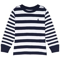 Ralph Lauren White Multi Stripe Long Sleeve CN Tops Tee White Multi
