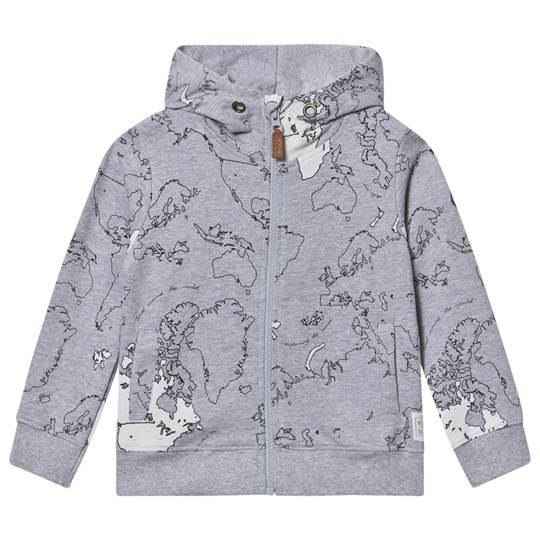 ebbe Kids Rebus Sweater Jacket Maps Allover Grey Maps allover grey