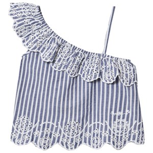 Image of Pepe Jeans Blue Karissa Stripe One Shoulder Broiderie Anglais Detail Top 14 years (2959875287)