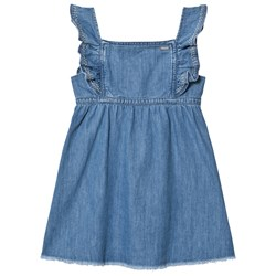 Pepe Jeans Blue Anabel Soft Denim Frill Detail Dress