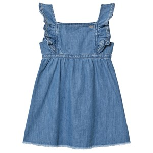 Image of Pepe Jeans Blue Anabel Soft Denim Frill Detail Dress 10 years (2959875837)