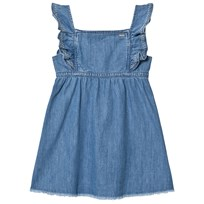 Pepe Jeans Blue Anabel Soft Denim Frill Detail Raw Edge Dress 000
